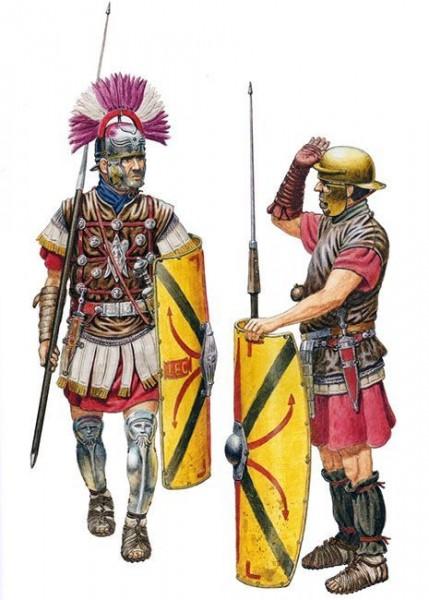 Legionary saluting a centurion