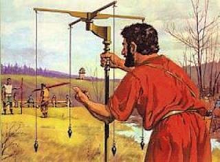 Representação do fio de prumo romano